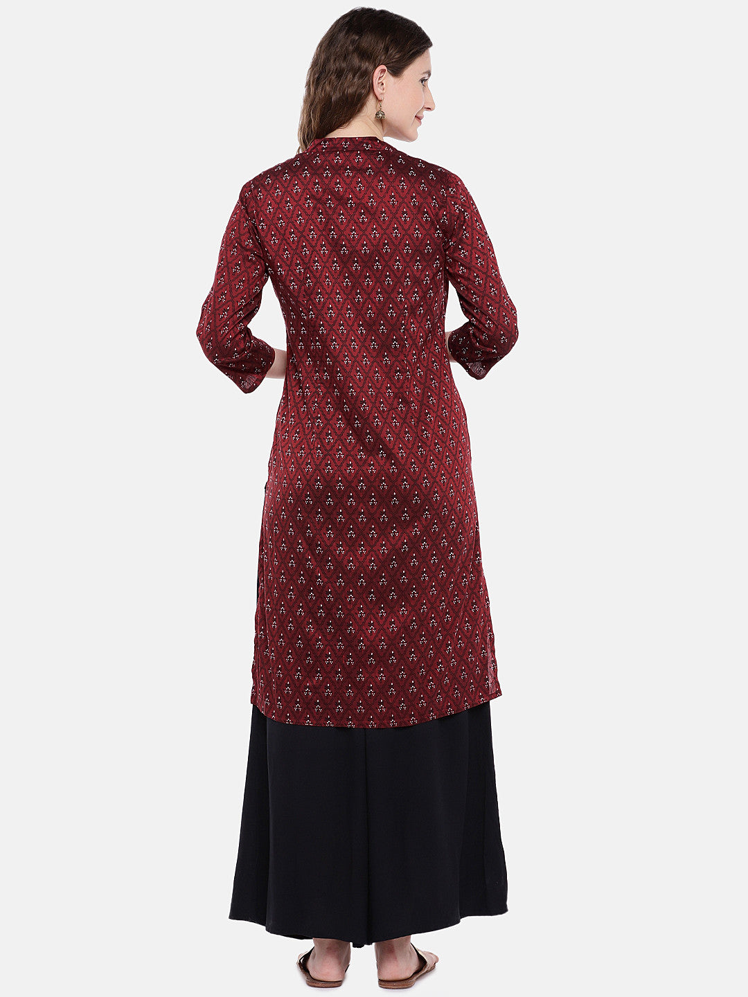 Women Maroon Printed Straight Kurta-3