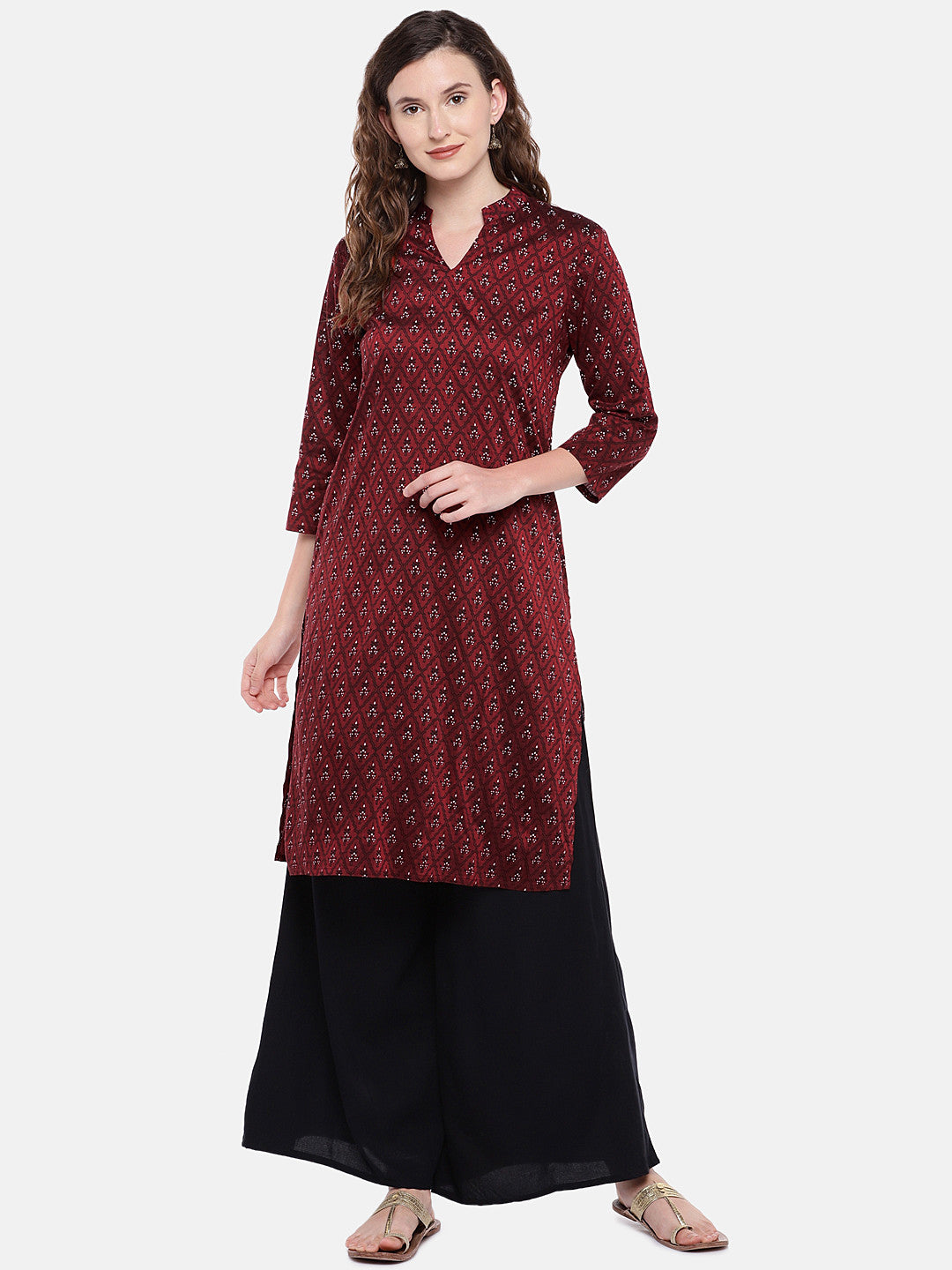 Women Maroon Printed Straight Kurta-4