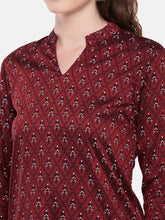 Load image into Gallery viewer, Women Maroon Printed Straight Kurta-5