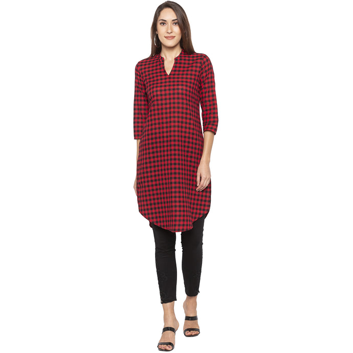 Casual Red Color Straight Checked Regular Kurtas-1