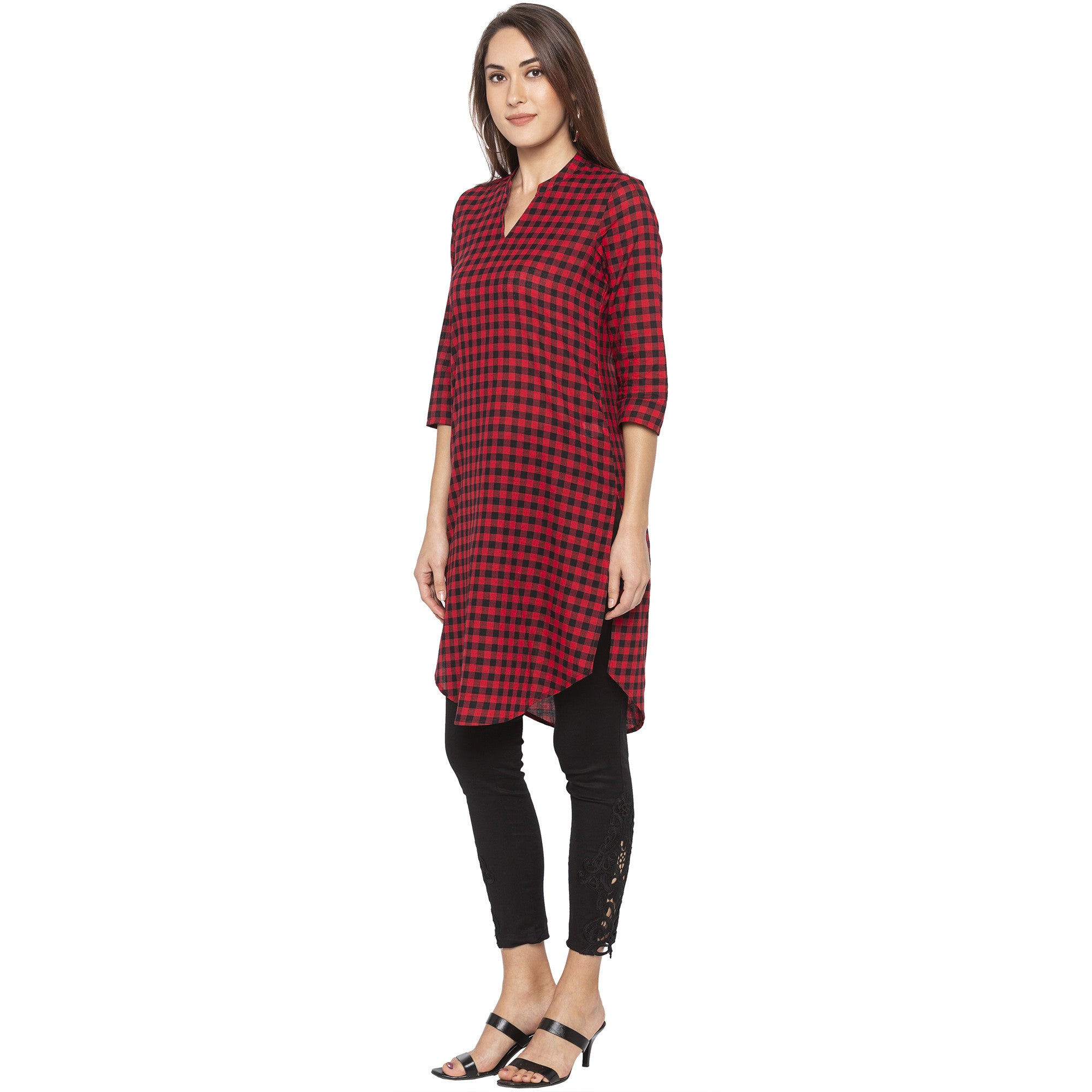 Casual Red Color Straight Checked Regular Kurtas-2