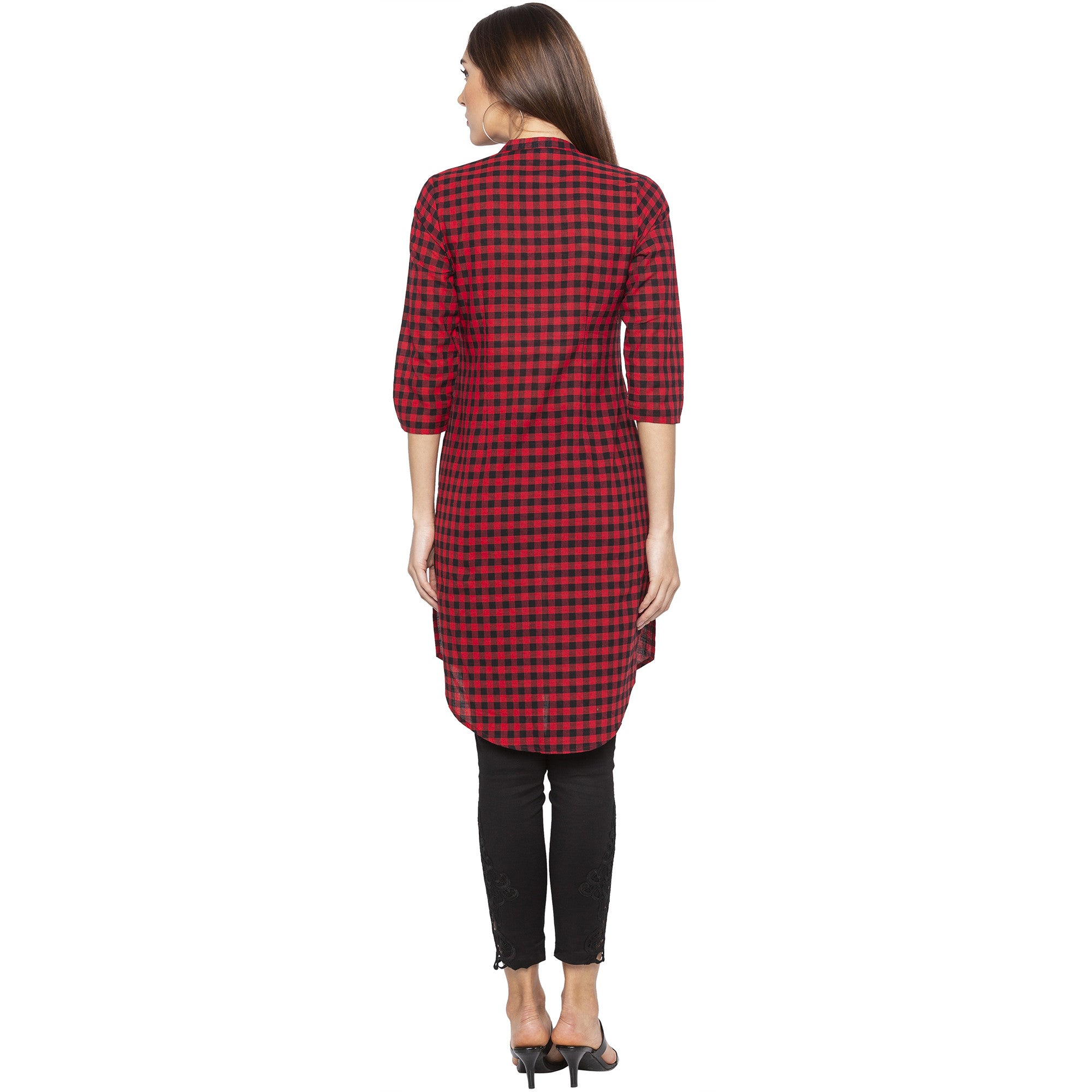Casual Red Color Straight Checked Regular Kurtas-3