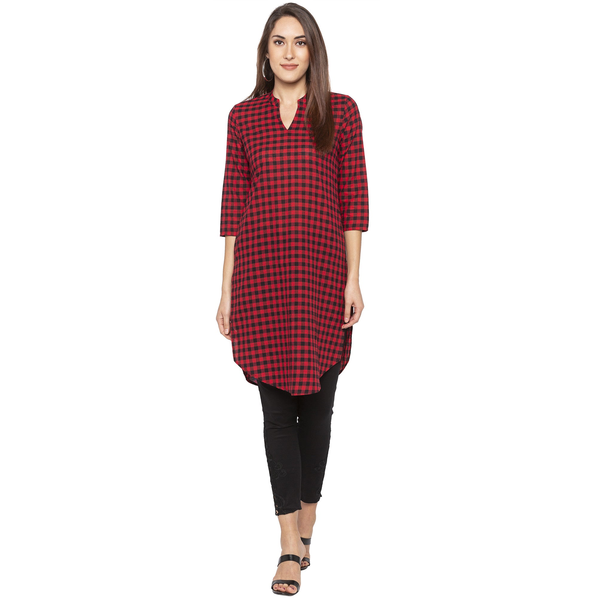 Casual Red Color Straight Checked Regular Kurtas-4
