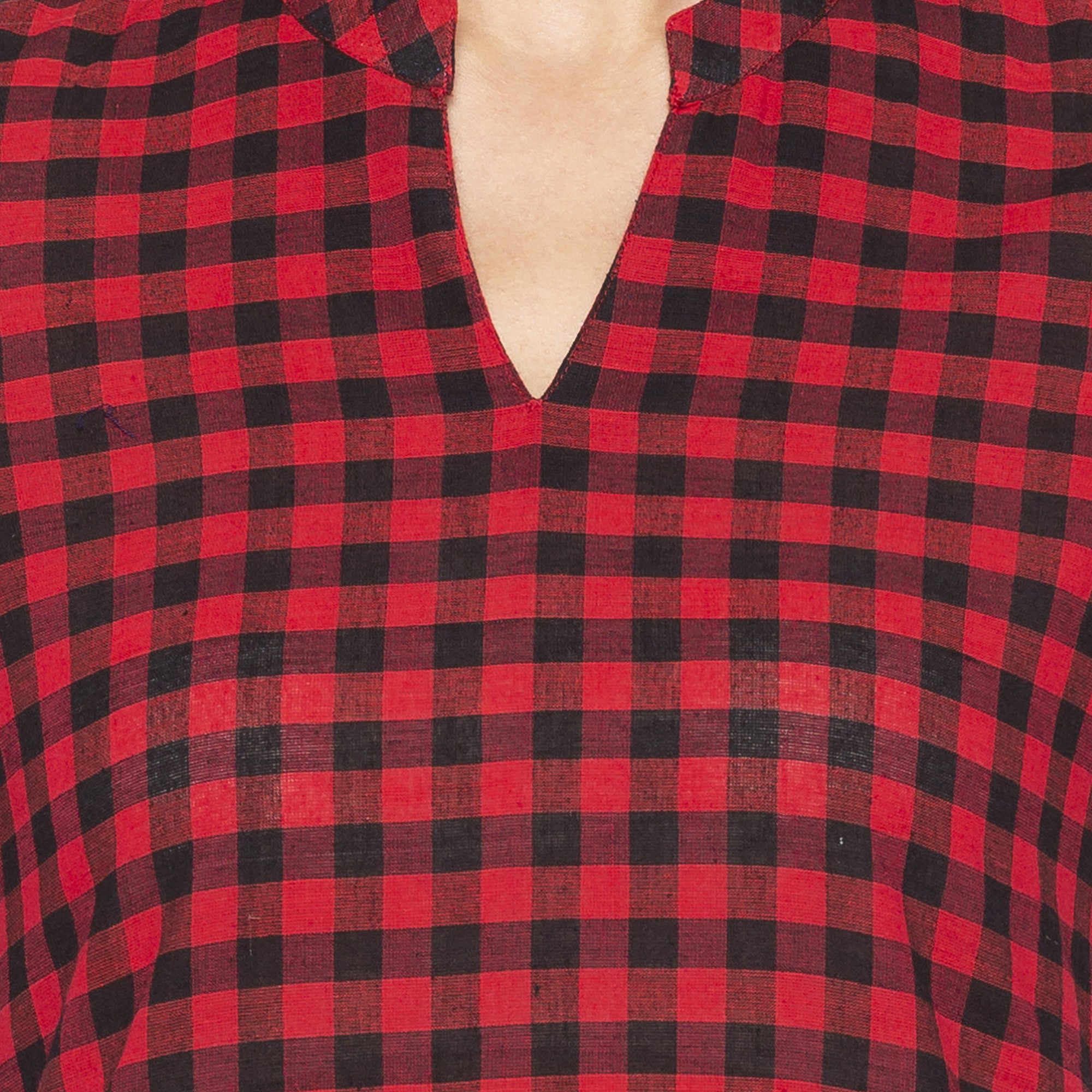 Casual Red Color Straight Checked Regular Kurtas-5