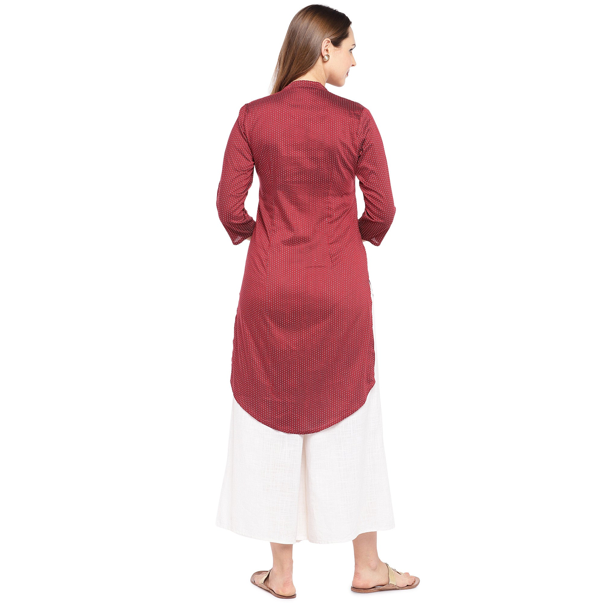 Women Maroon Striped Straight Kurta-3
