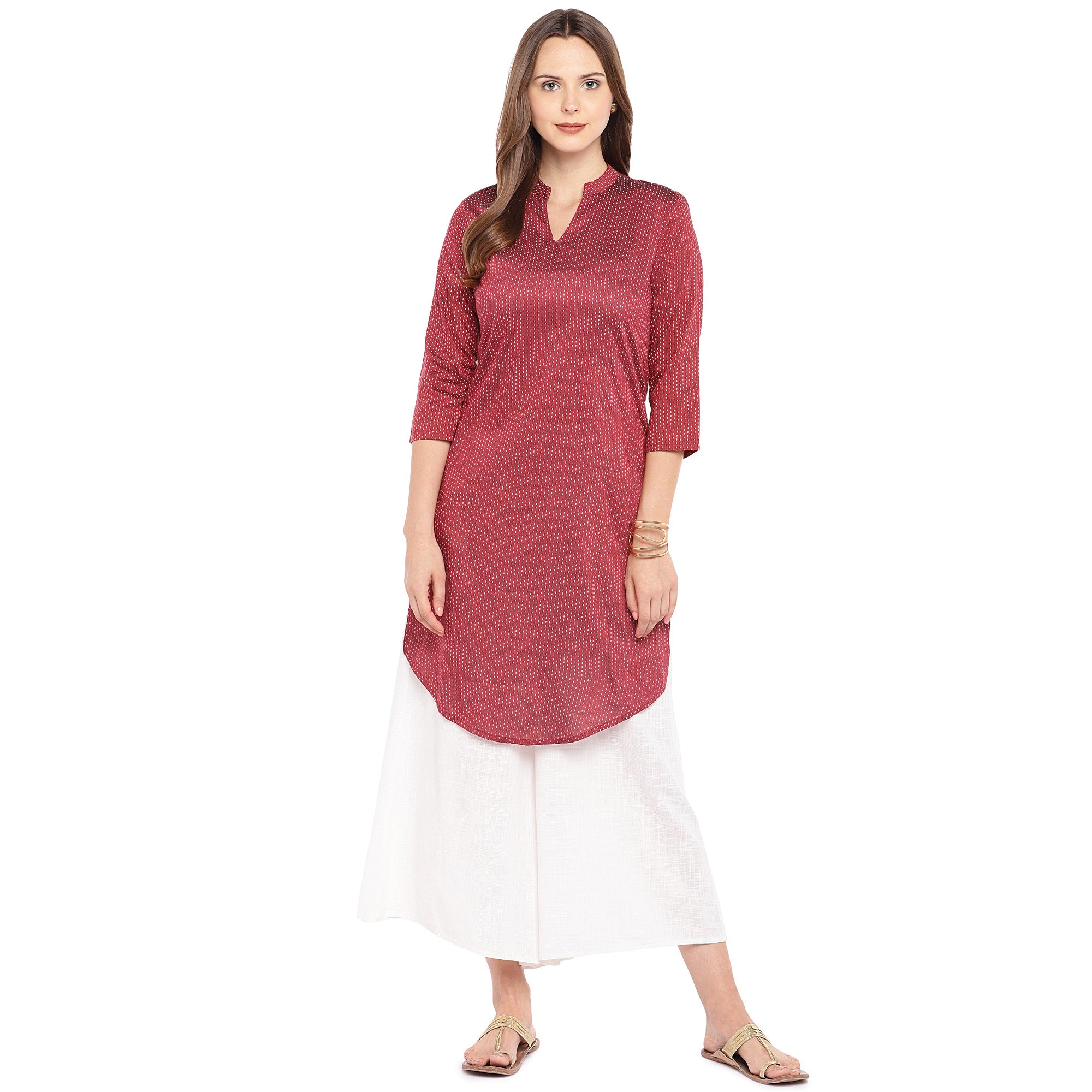 Women Maroon Striped Straight Kurta-4
