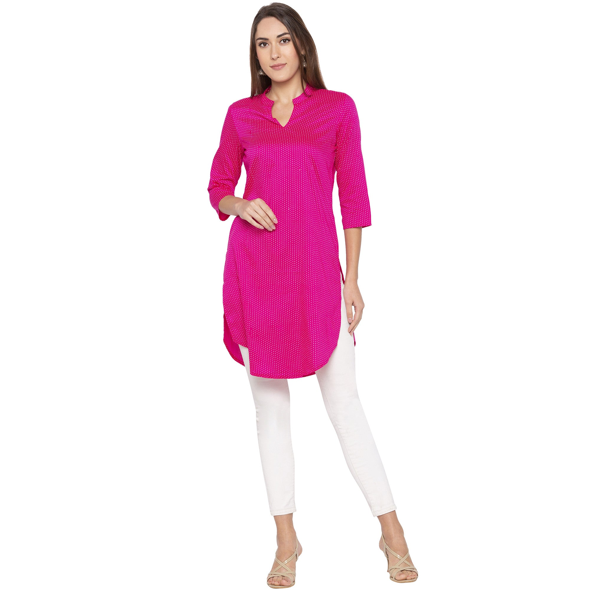 Casual Pink Color Straight Printed Regular Kurtas-1