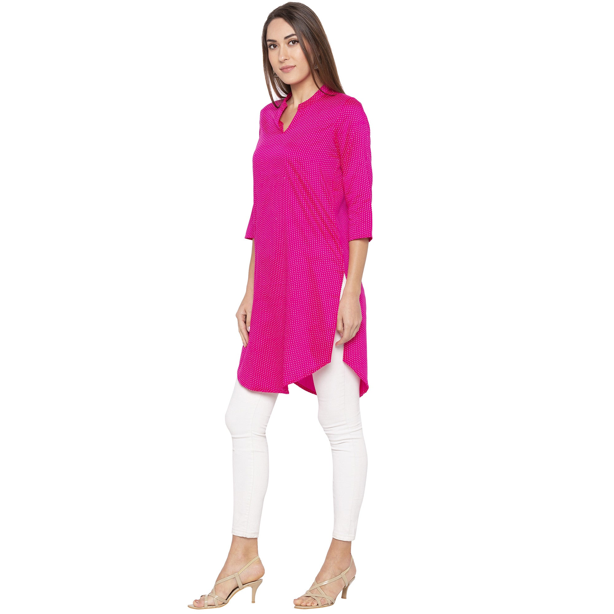 Casual Pink Color Straight Printed Regular Kurtas-2