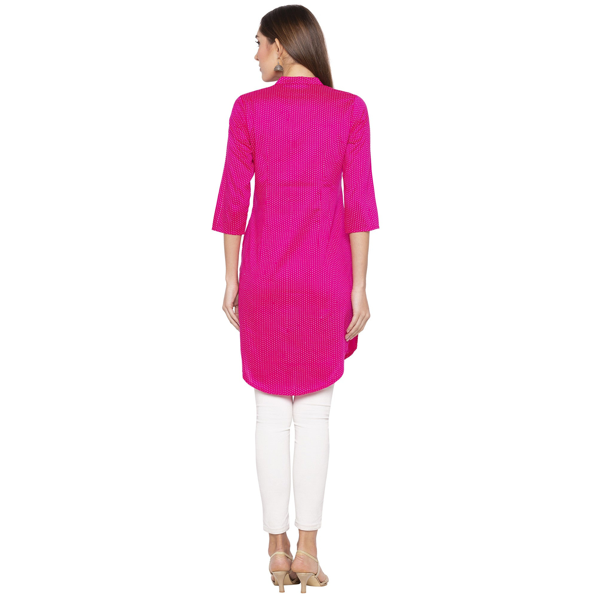 Casual Pink Color Straight Printed Regular Kurtas-3