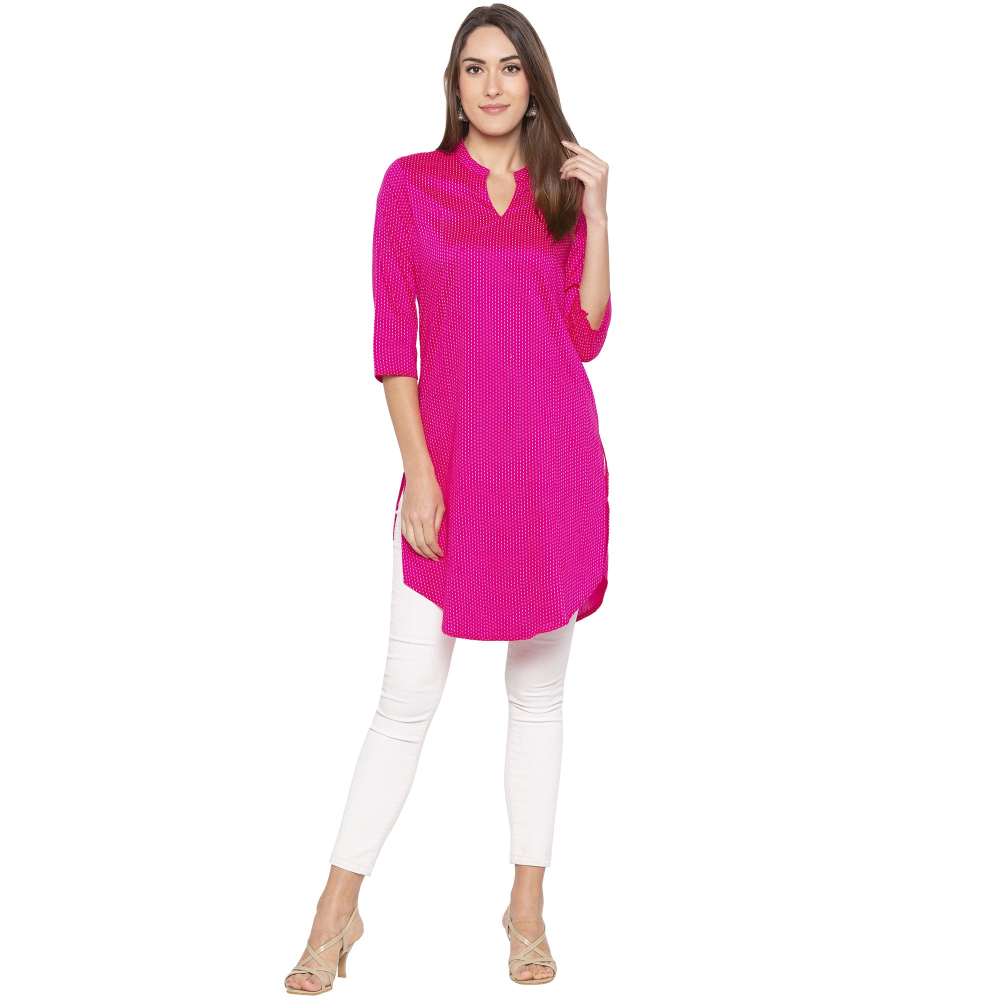 Casual Pink Color Straight Printed Regular Kurtas-4