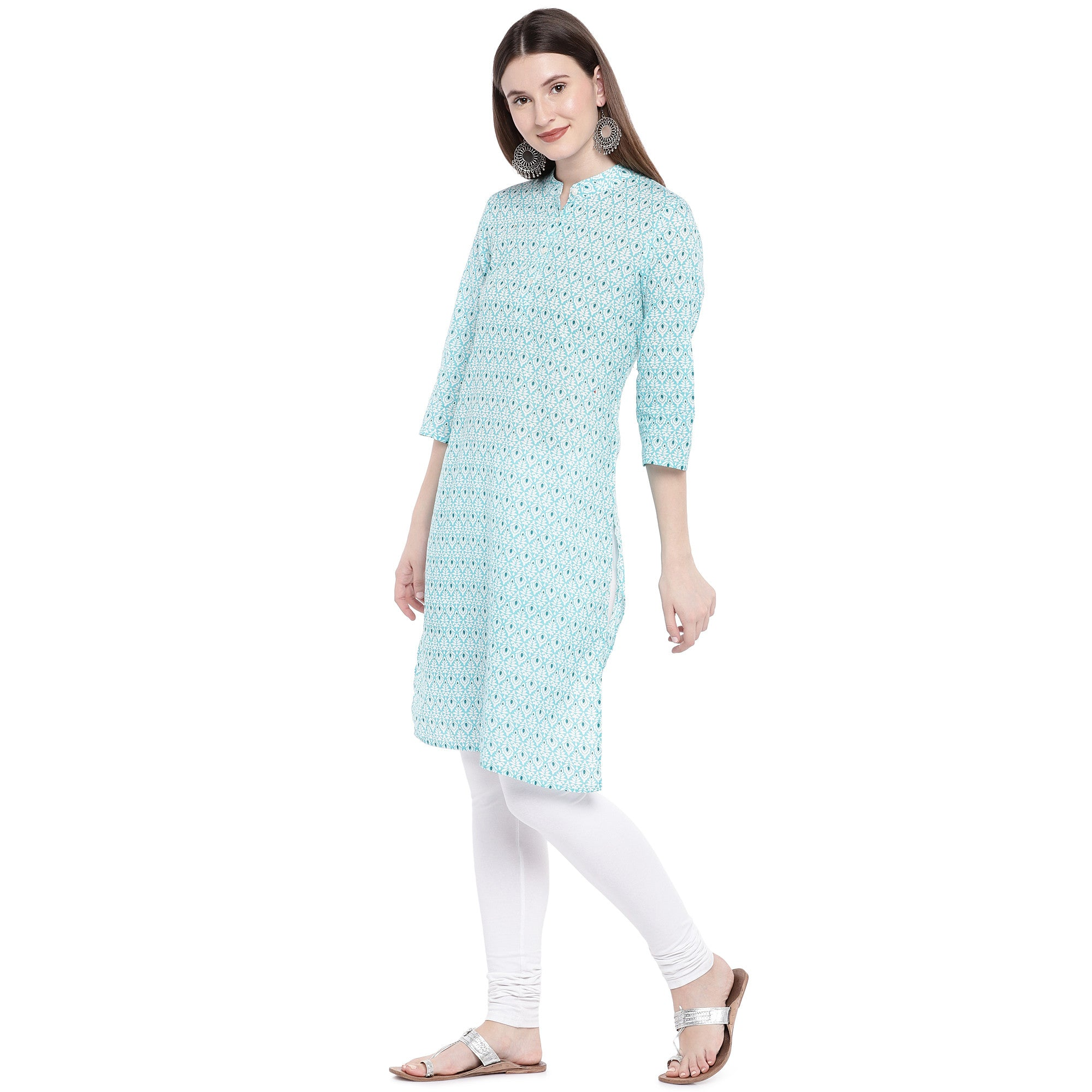 Green Printed Straight Kurta-2