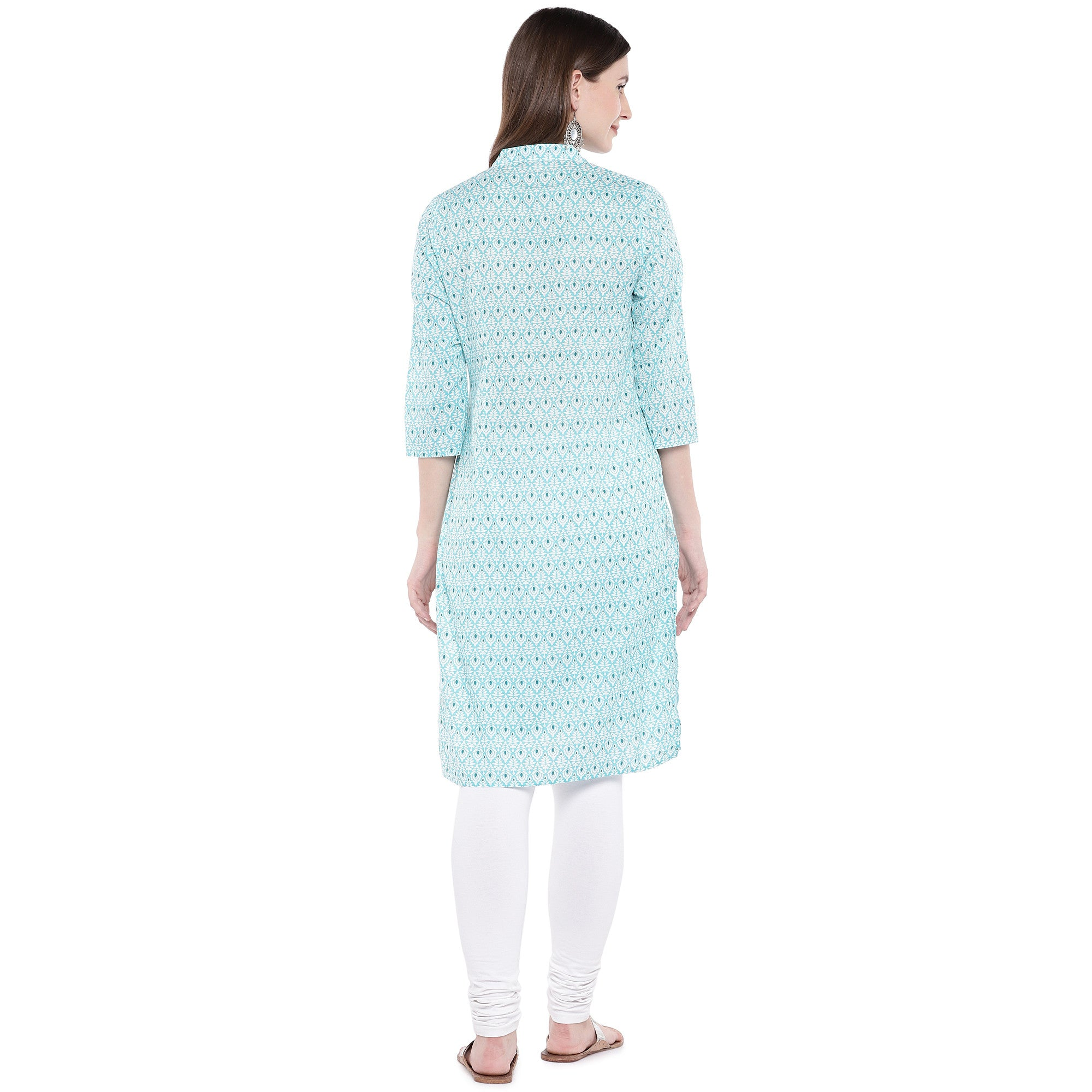 Green Printed Straight Kurta-3
