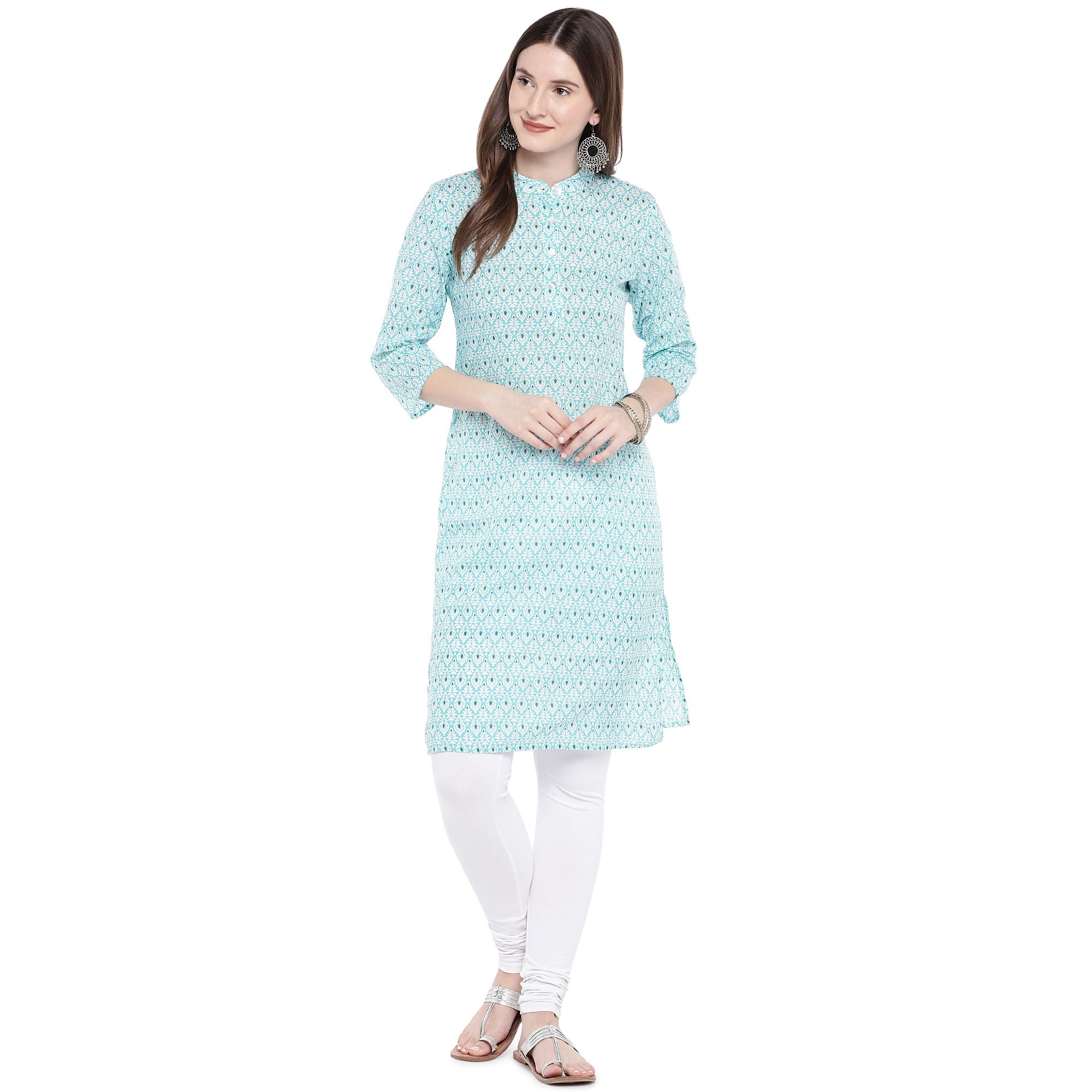 Green Printed Straight Kurta-4