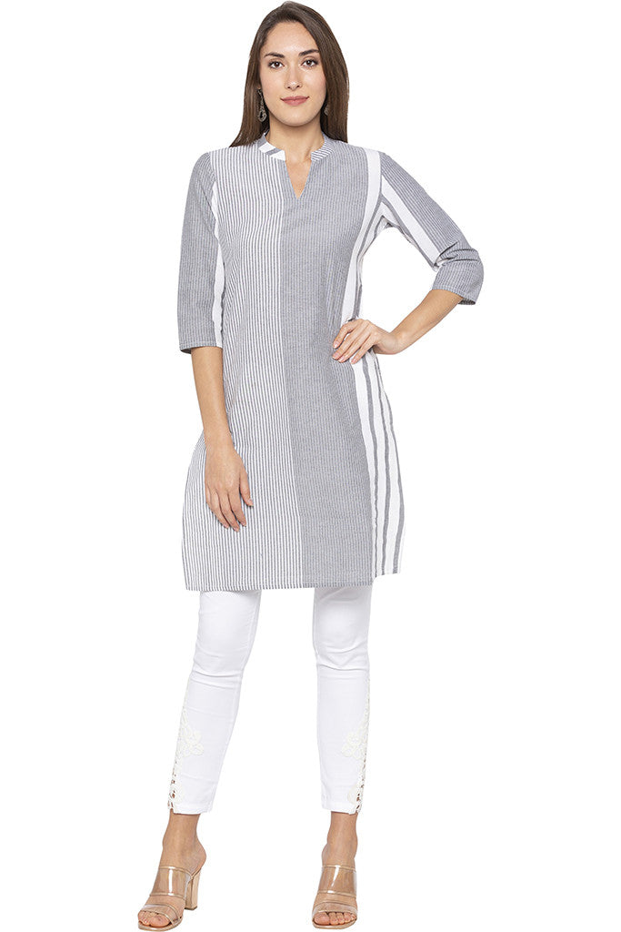Vertical Striped Grey Kurta-1