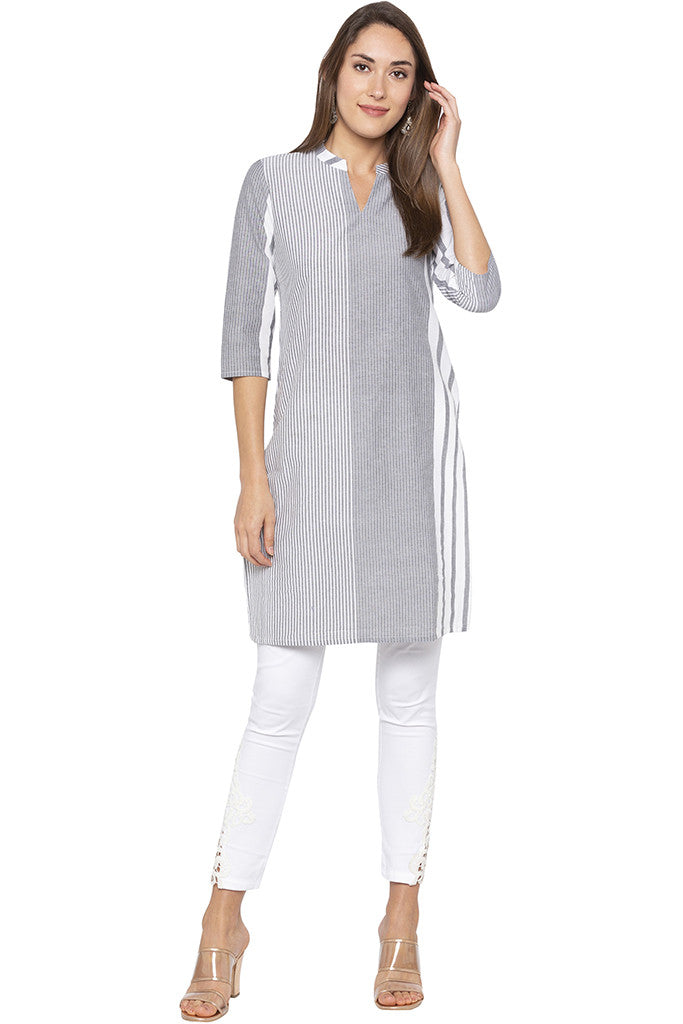 Vertical Striped Grey Kurta-2