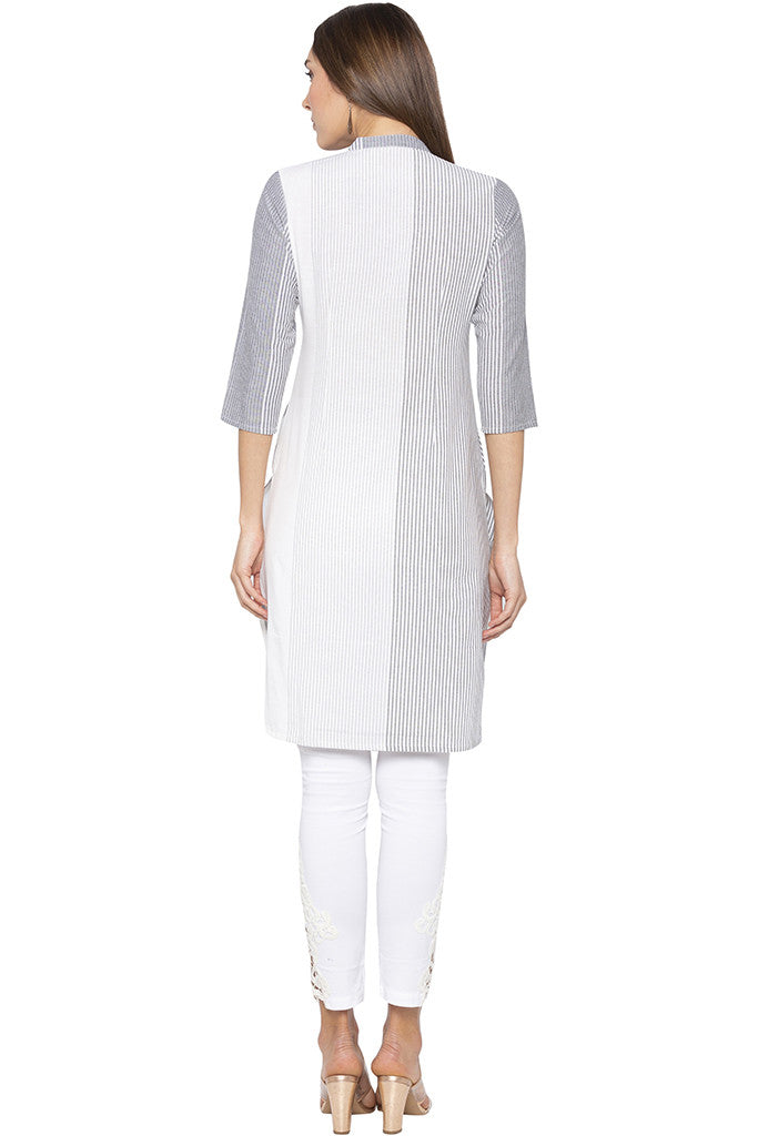 Vertical Striped Grey Kurta-3