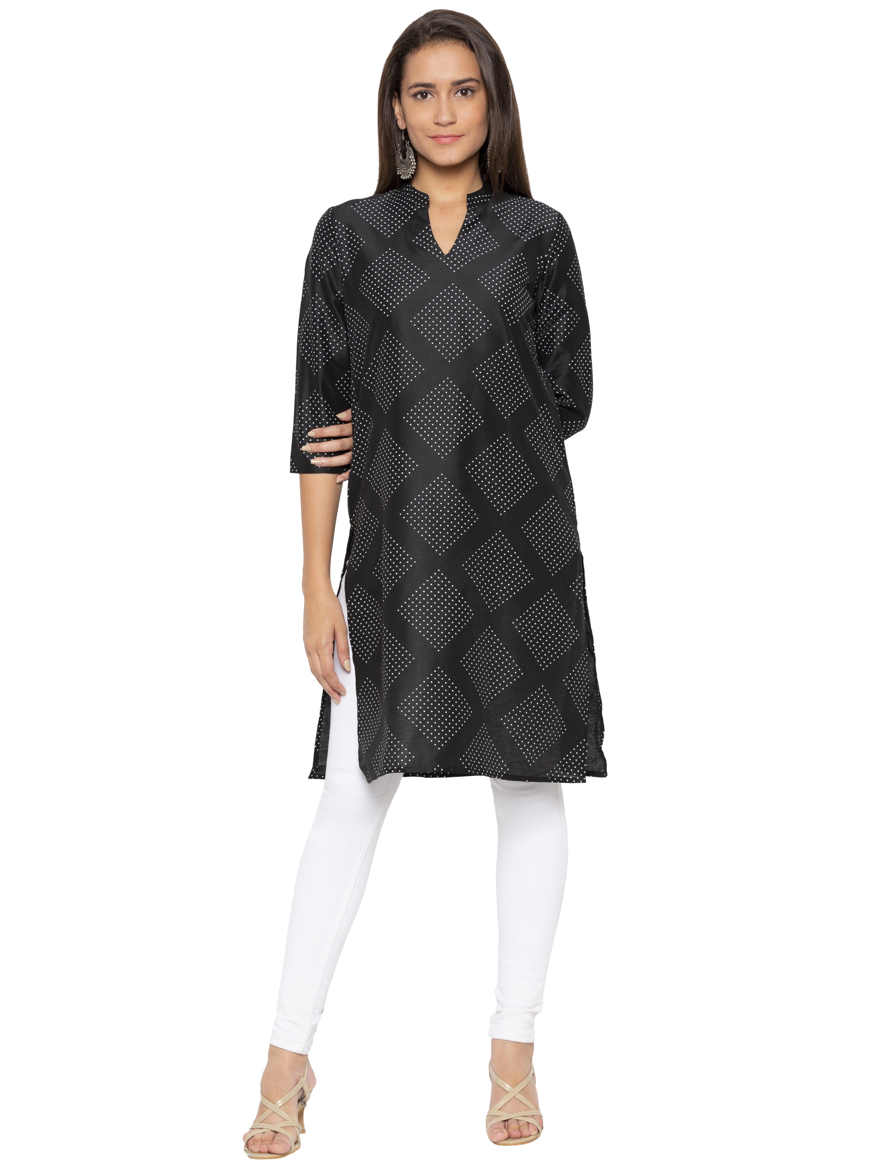 Black Printed Kurta-1