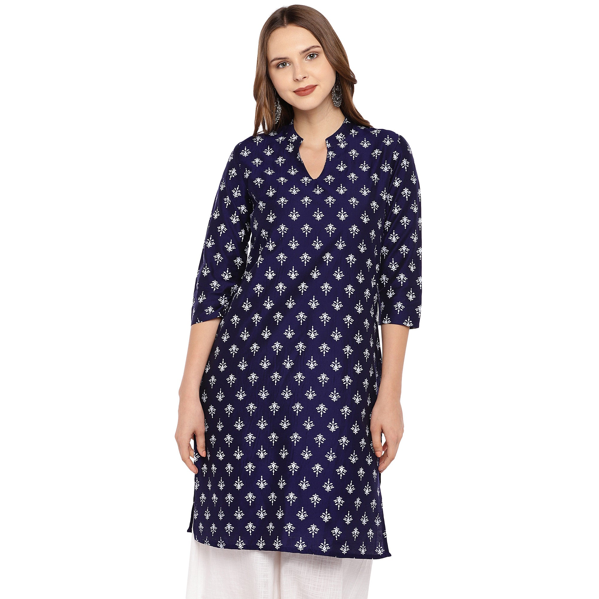 Women Navy Blue Printed Straight Kurta-1