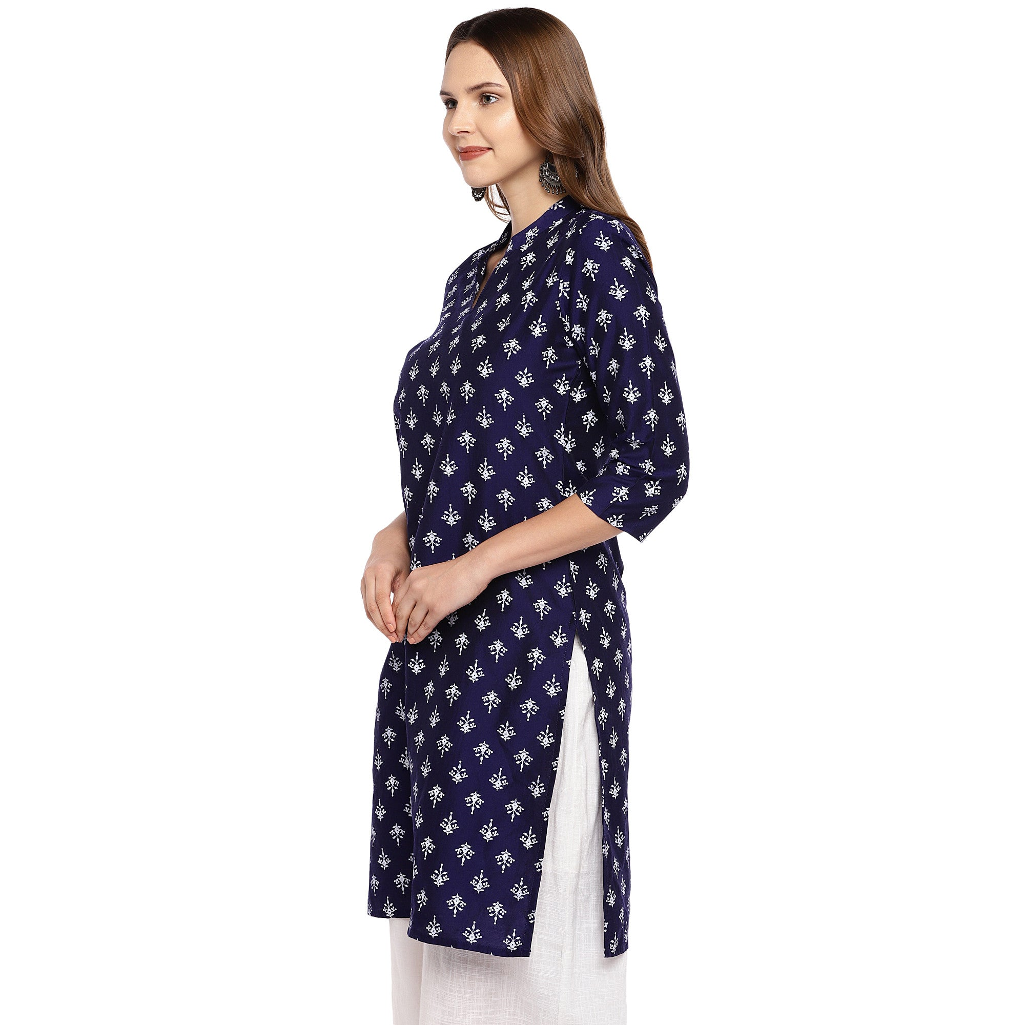 Women Navy Blue Printed Straight Kurta-2