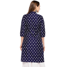 Load image into Gallery viewer, Women Navy Blue Printed Straight Kurta-3