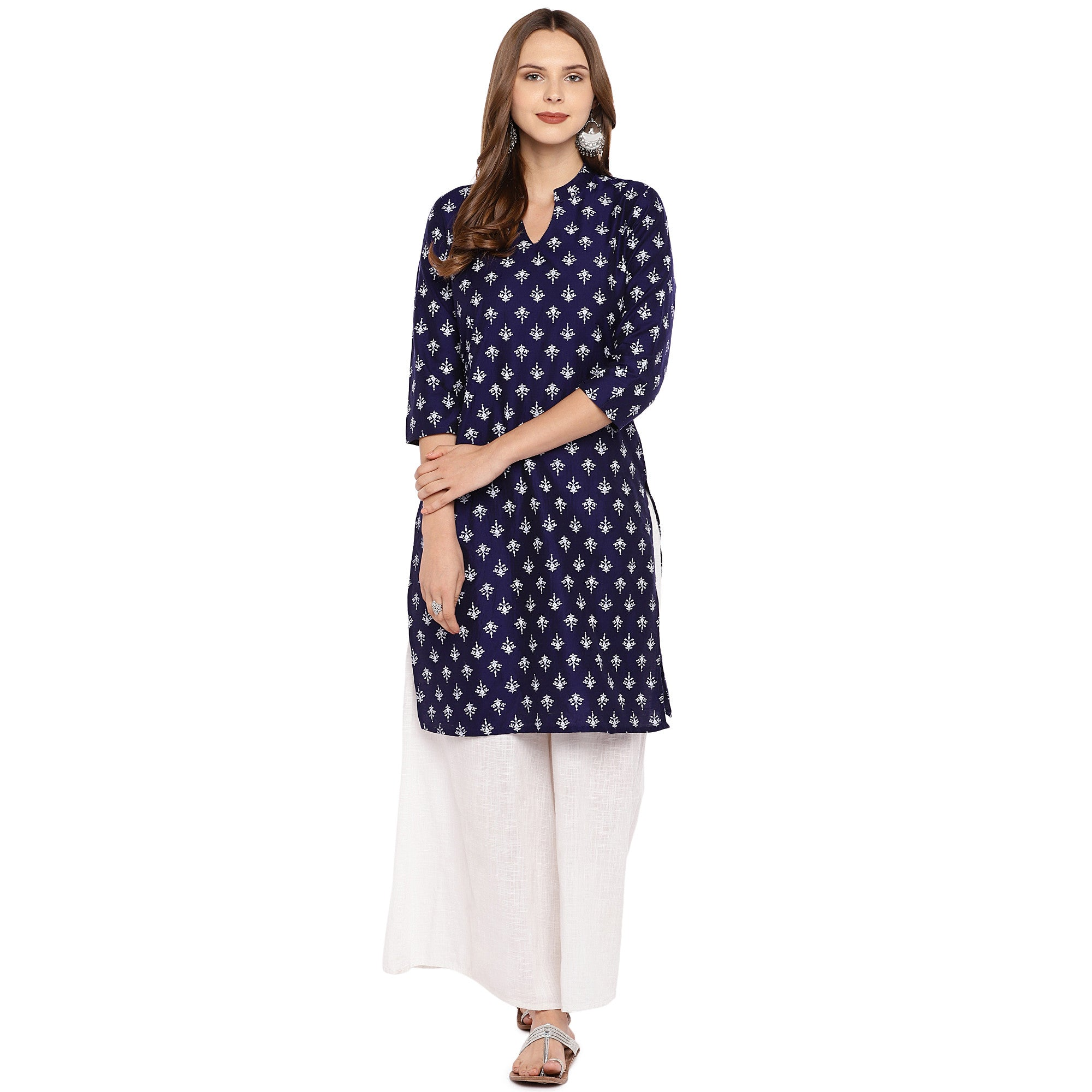 Women Navy Blue Printed Straight Kurta-4