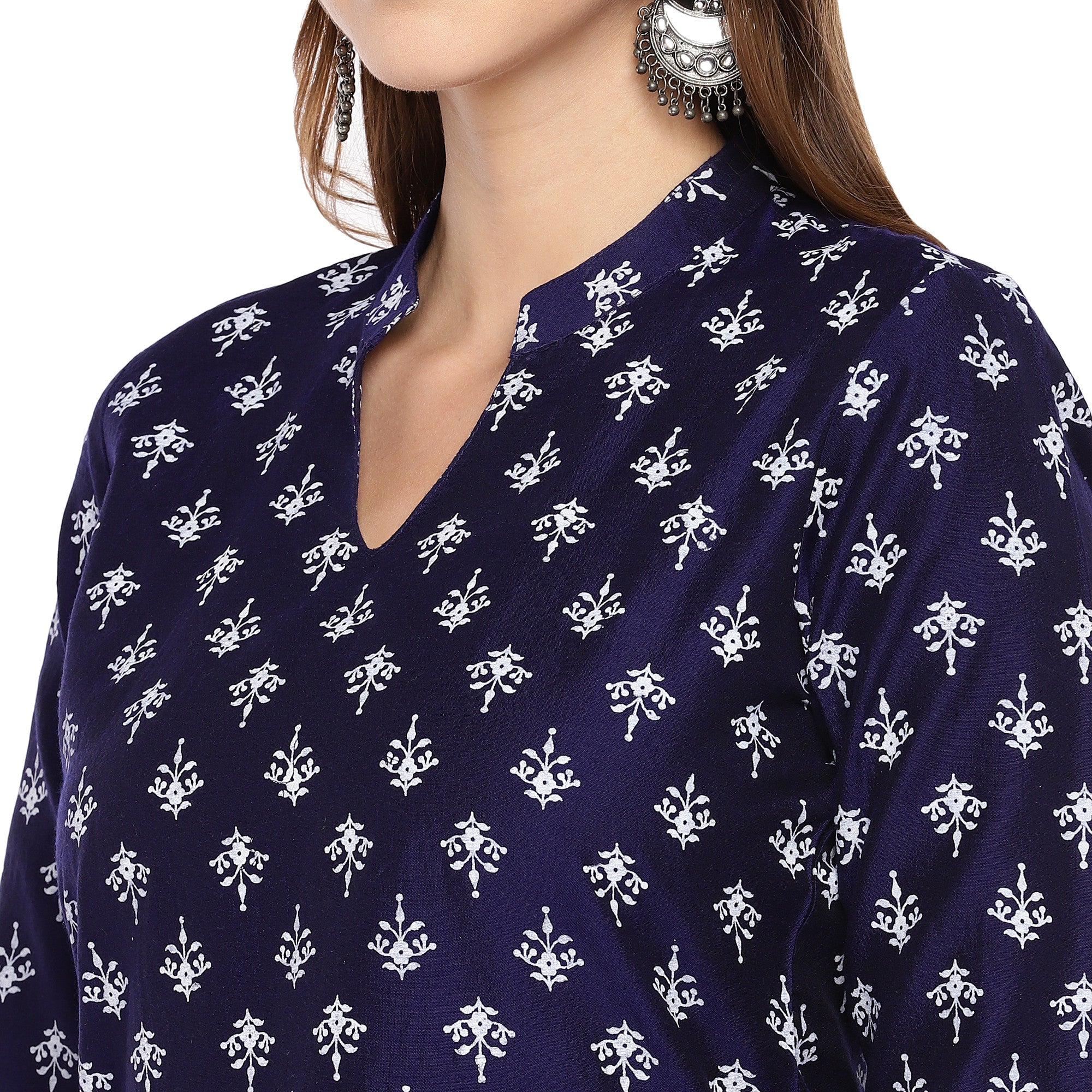 Women Navy Blue Printed Straight Kurta-5