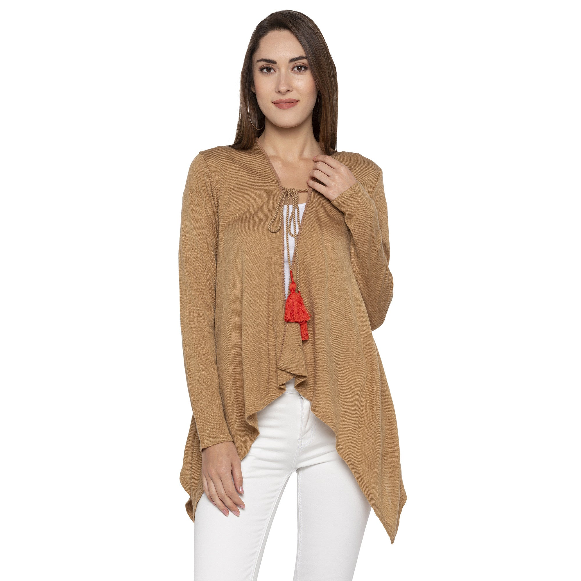 Brown Color Solid Regular Fit Shrug-1