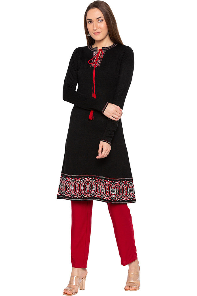 Black Tie-up Neckline Kurta-1