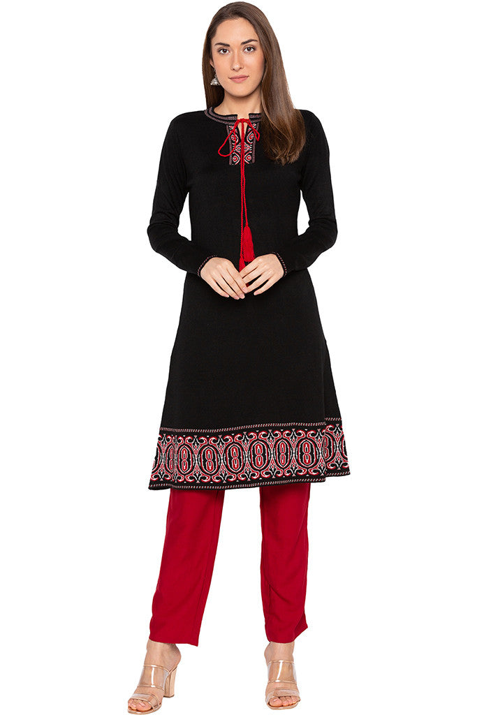 Black Tie-up Neckline Kurta-2