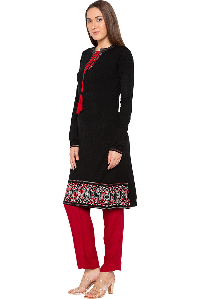 Black Tie-up Neckline Kurta-4