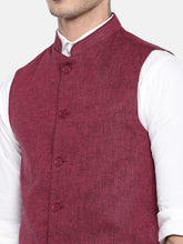 Load image into Gallery viewer, Maroon Solid Nehru Jacket-5