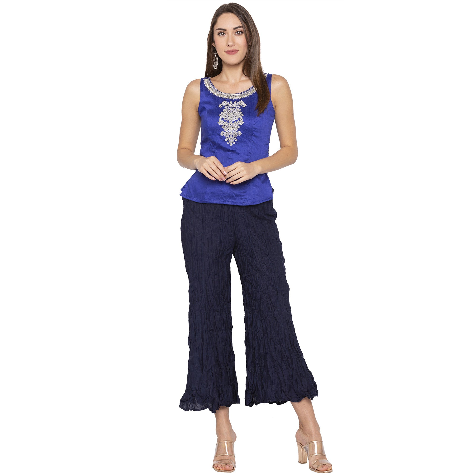 Casual Navy Blue Color Loose Fit Cropped Parallel Trousers-4