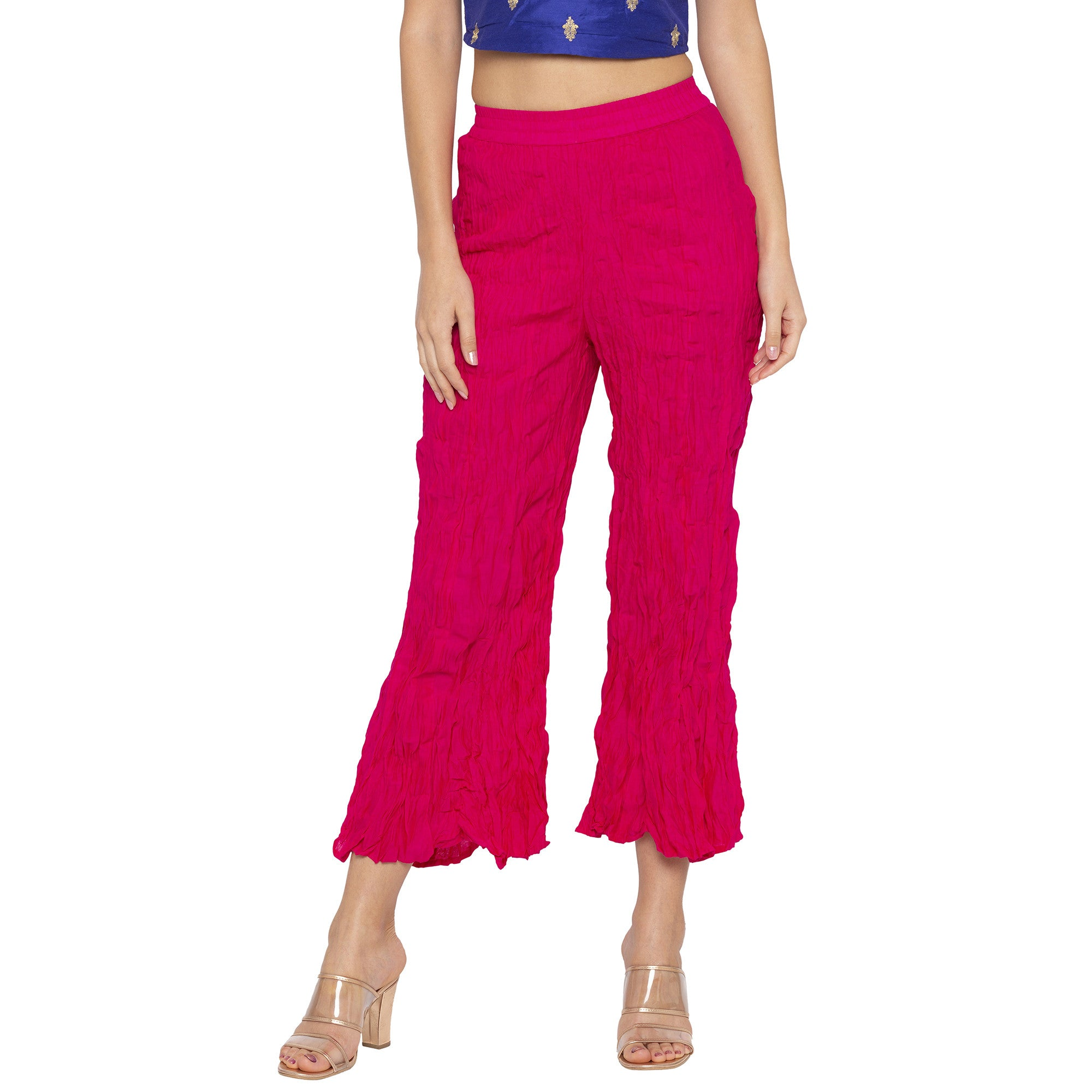 Casual Pink Color Loose Fit Cropped Parallel Trousers-1