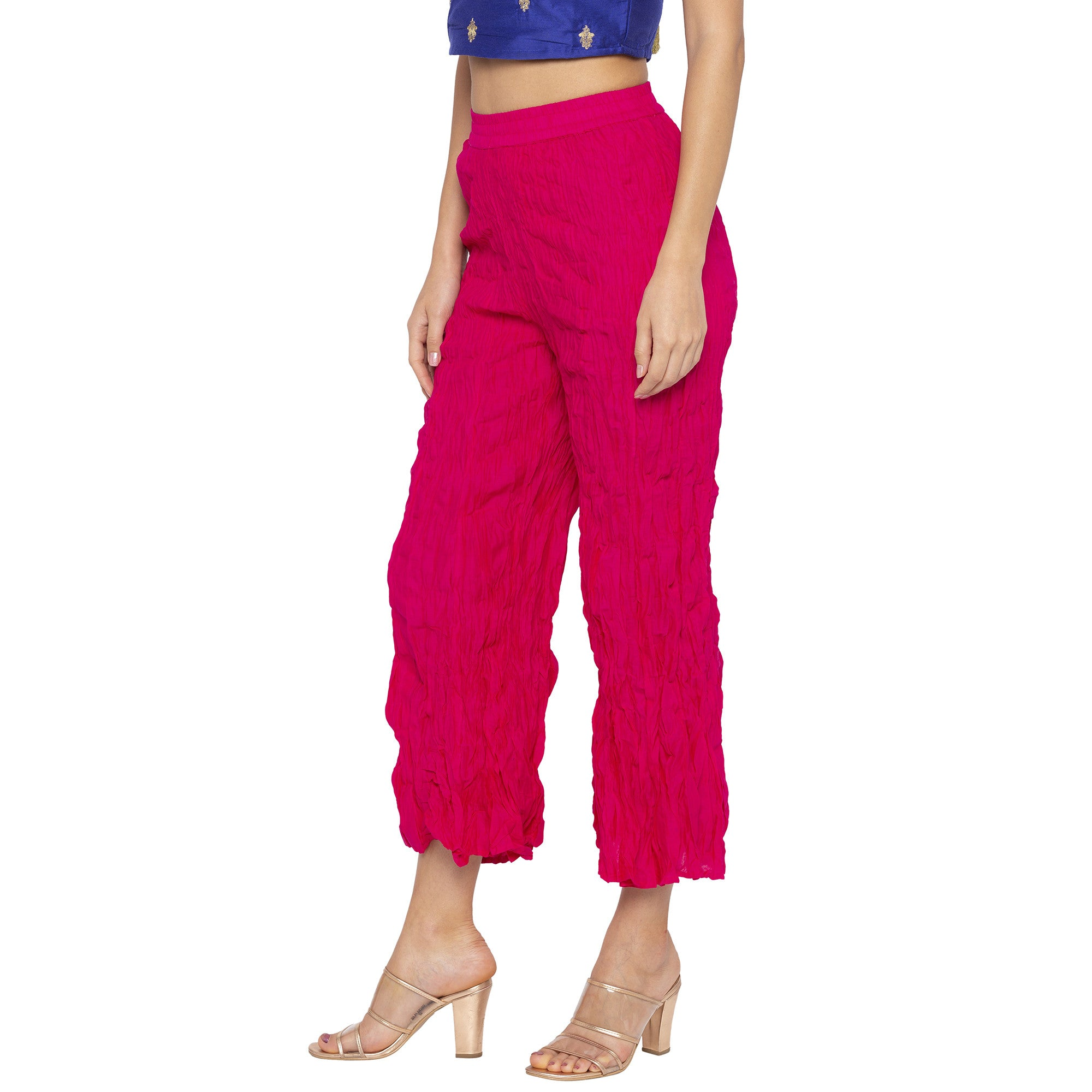 Casual Pink Color Loose Fit Cropped Parallel Trousers-2