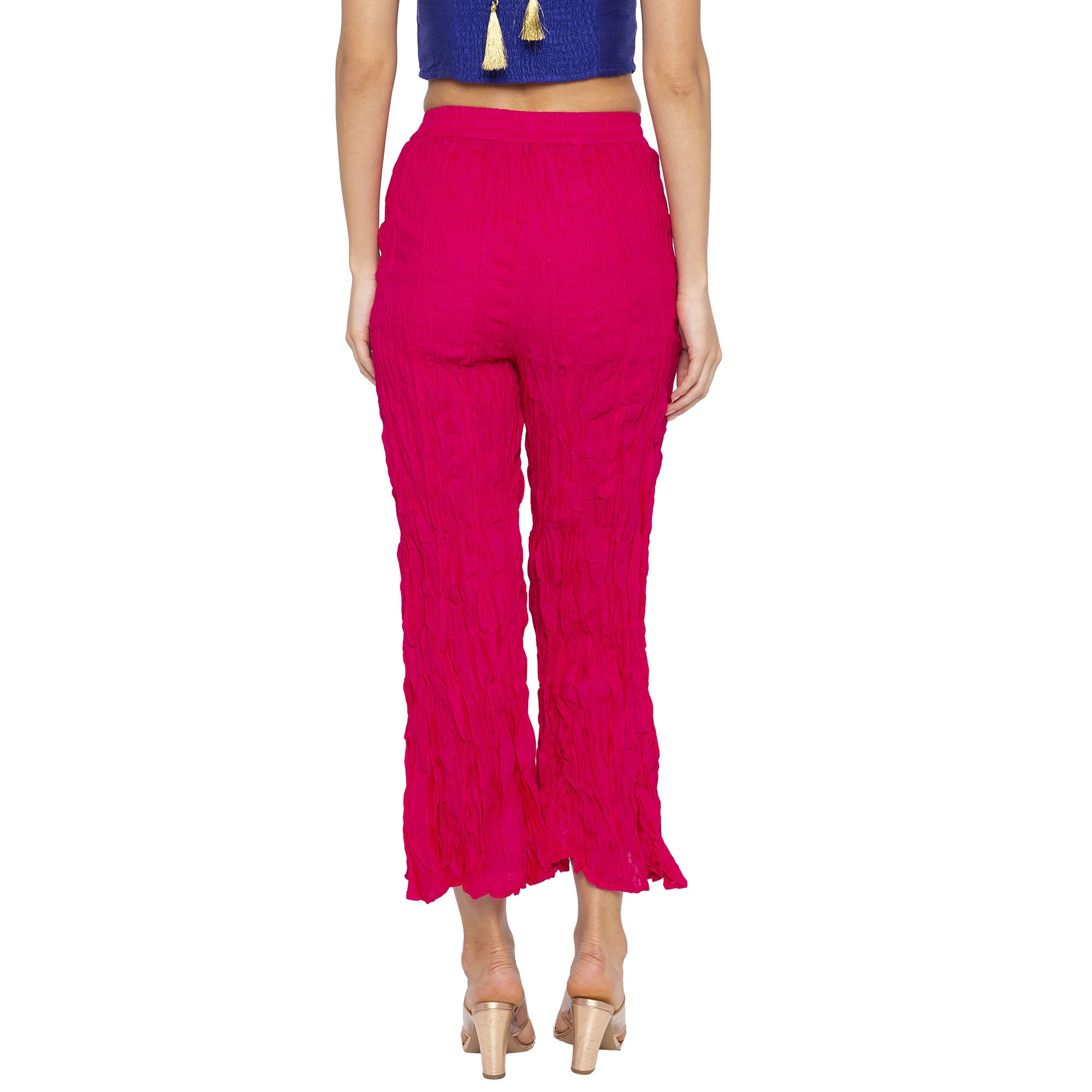 Casual Pink Color Loose Fit Cropped Parallel Trousers-3