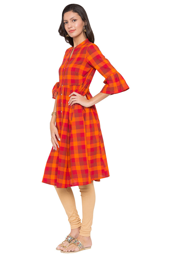 Checked Work Wear Kurta-4