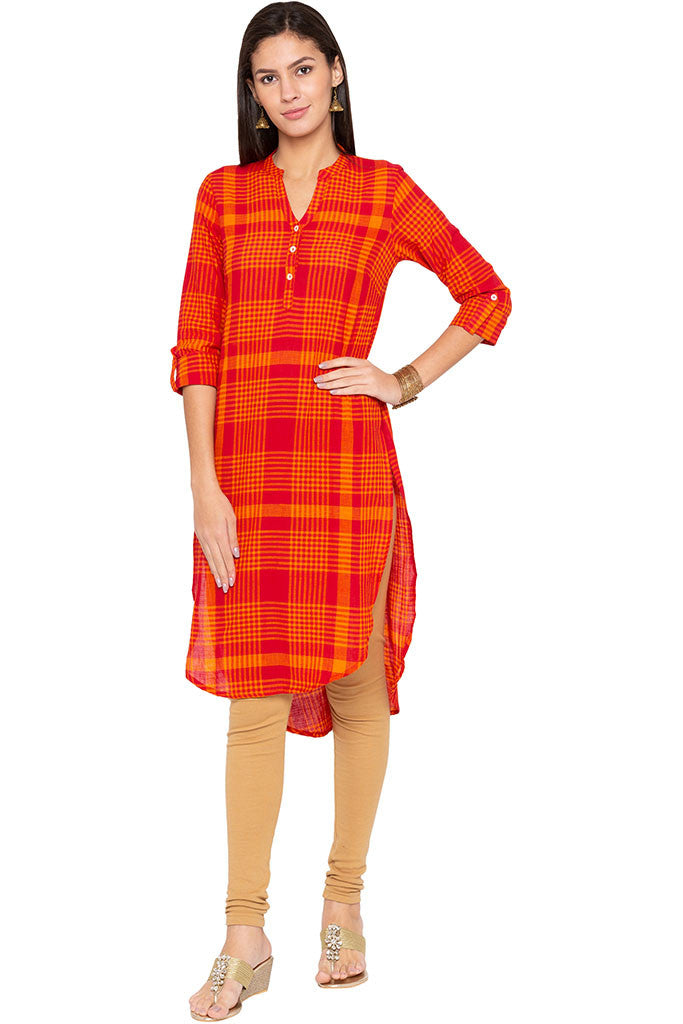 Checked High-low Kurta-1