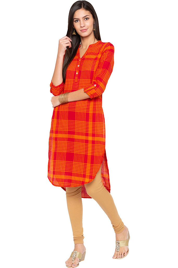 Checked High-low Kurta-2
