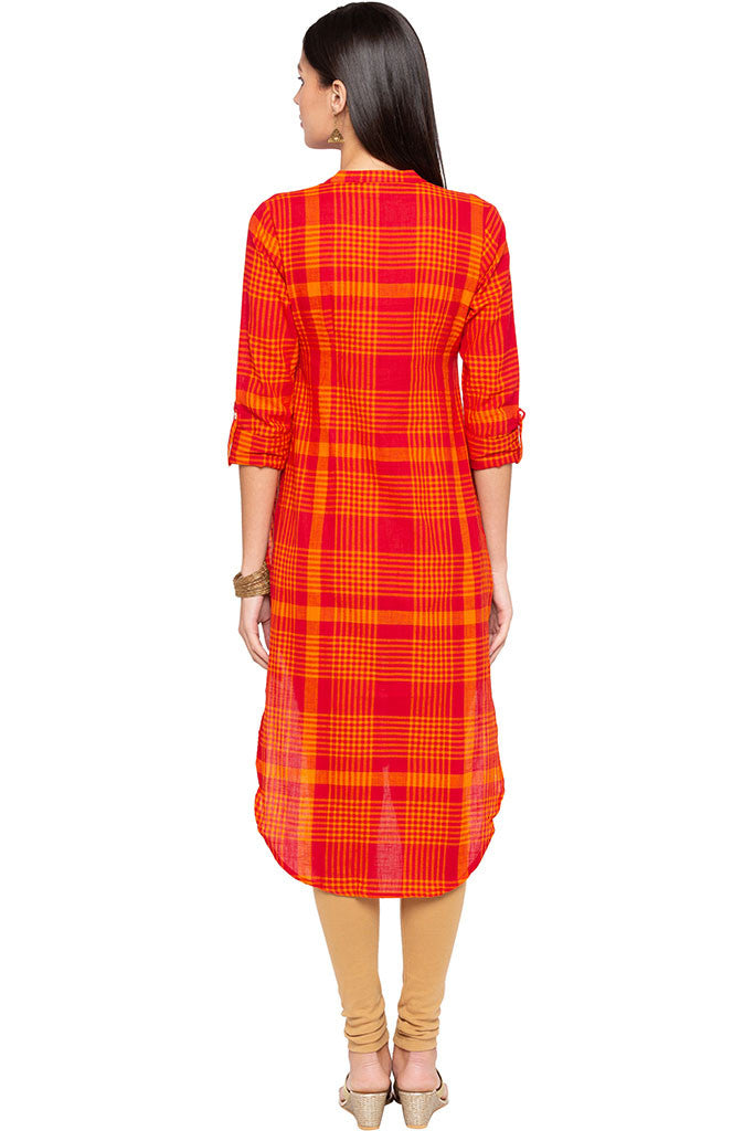 Checked High-low Kurta-3
