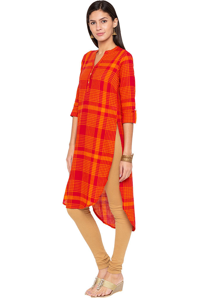 Checked High-low Kurta-4