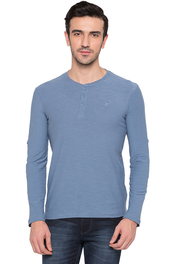 Henley Neck Airforce Blue Tee-1