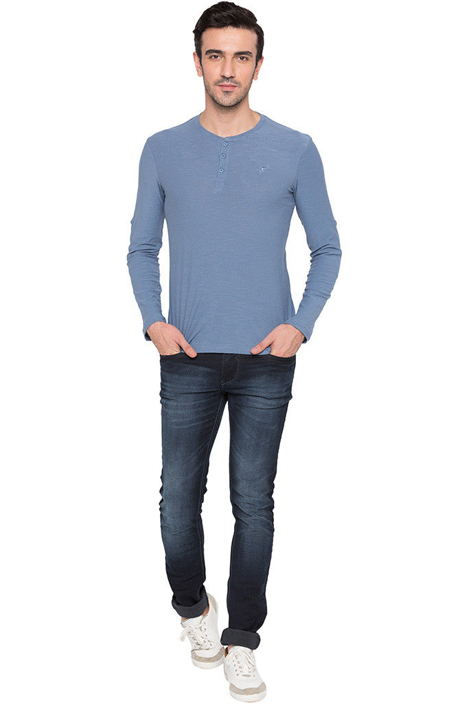 Henley Neck Airforce Blue Tee-2