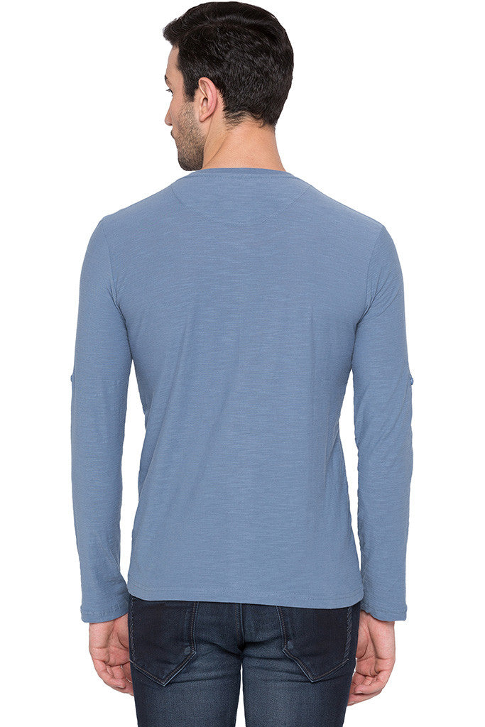 Henley Neck Airforce Blue Tee-3