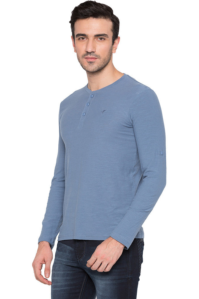 Henley Neck Airforce Blue Tee-4
