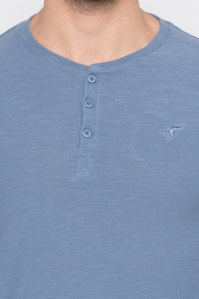 Henley Neck Airforce Blue Tee-5