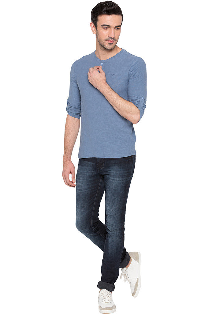 Henley Neck Airforce Blue Tee-6