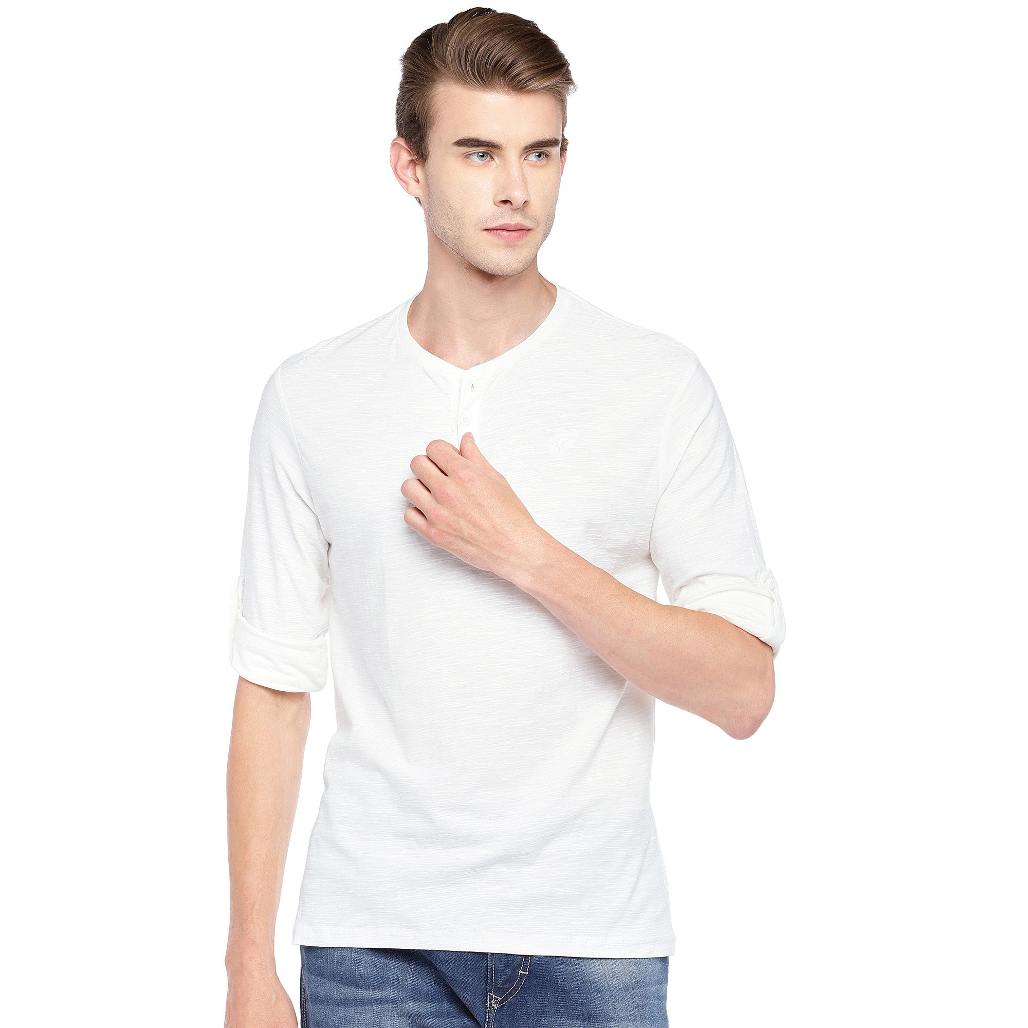 White Solid Henley Neck T-shirt-1