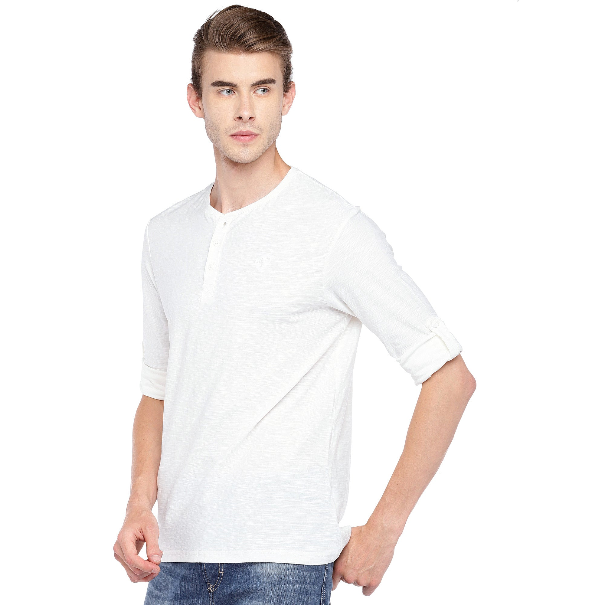 White Solid Henley Neck T-shirt-2