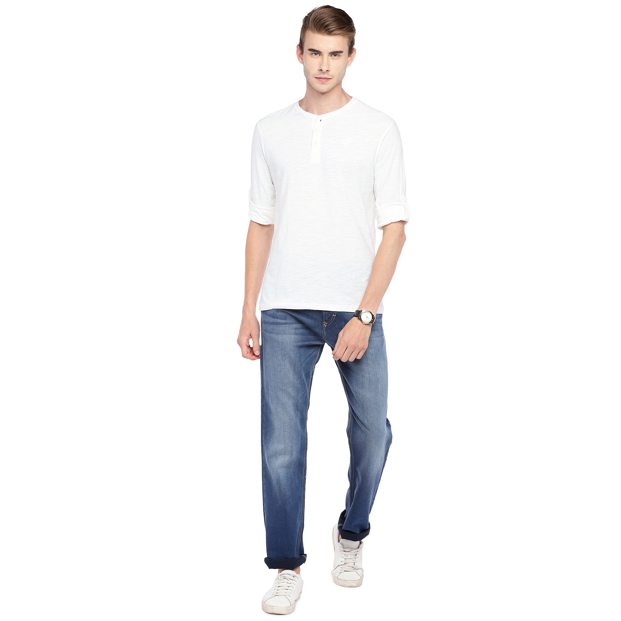 White Solid Henley Neck T-shirt-4