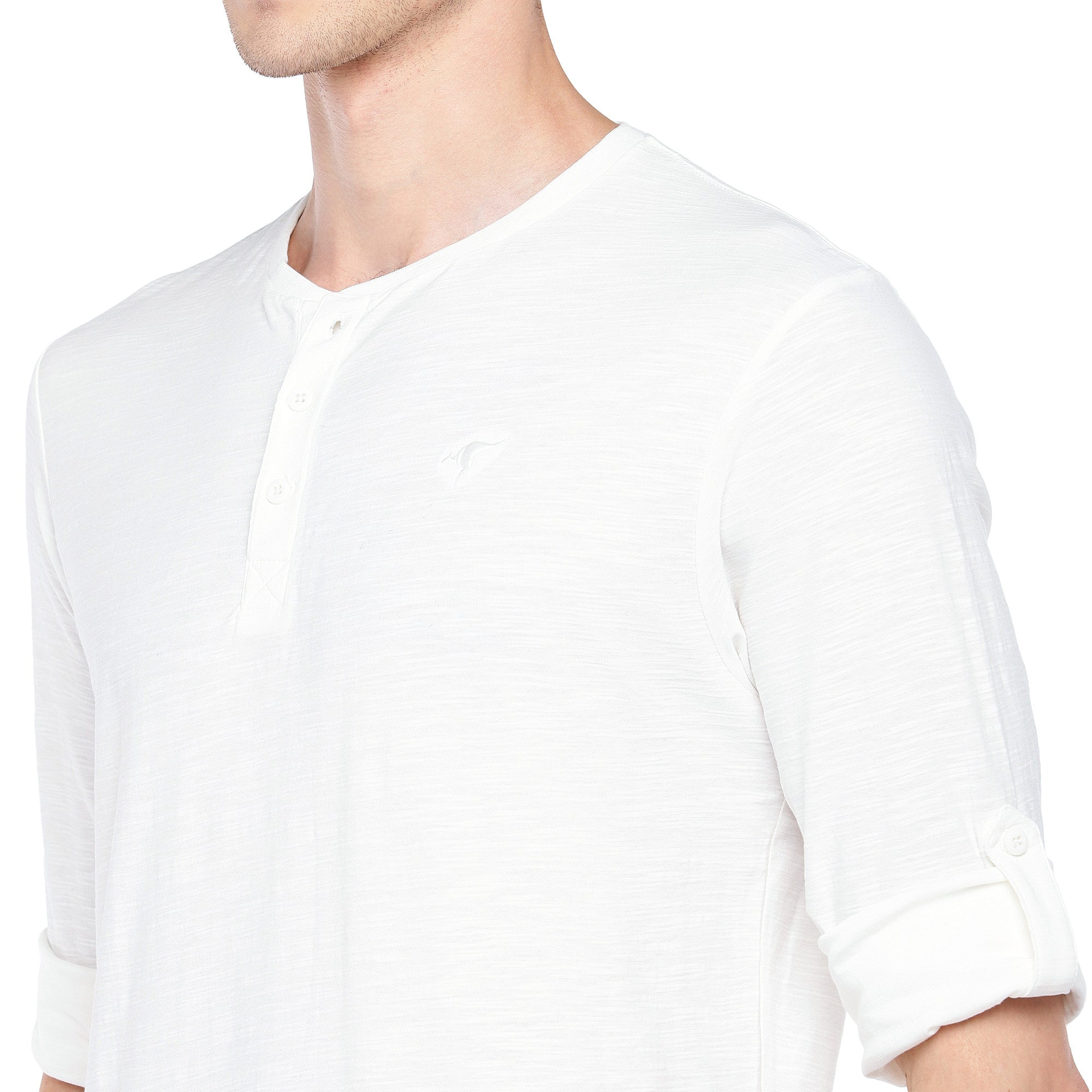 White Solid Henley Neck T-shirt-5